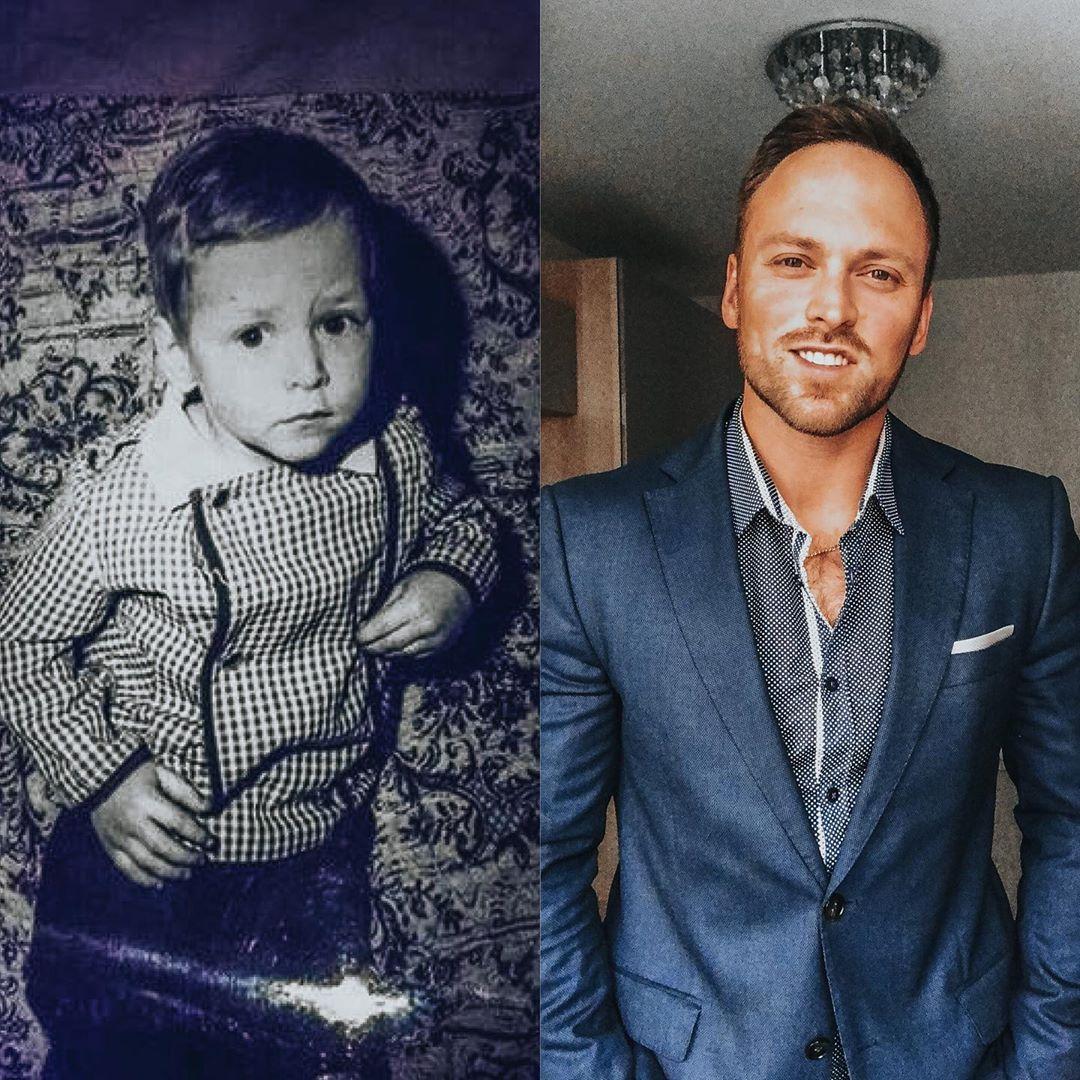 Алексей Столяров в детстве и сейчас